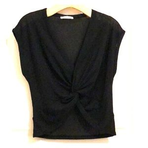 Zara Trafaluc Black Twist Front Crop Top S